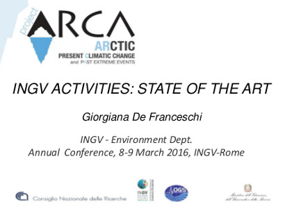 Summary  of INGV activities,  INGV-Environment Dept, II Annual Conference,  Rome, INGV, 8-9 March 2016